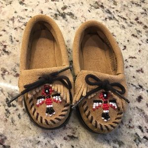 Kids Minnetonka Suede Leather Moccasins
